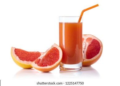 Glass of fresh grapefruit juice and cut fruits isolated on white background.