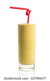 Glass of fresh healthy smoothie with red straw isolated on white background