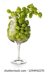 glass with fresh hops