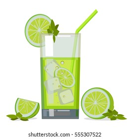 A glass of fresh lime juice and lime. Flat design. Abstract concept. Raster illustration.