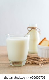 glass of fresh milk on the table