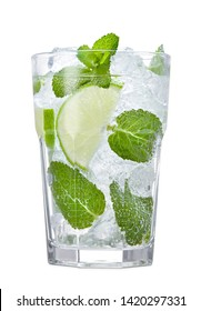 glass of fresh mojito cocktail with mint, lime and ice cubes isolated on white background