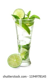 Glass of fresh mojito on white background