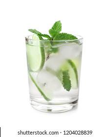 Glass of fresh mojito on white background