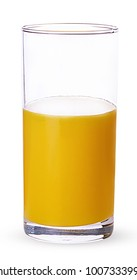 Glass of fresh orange juice half completed isolated on white background. Clipping Path. Full depth of field.