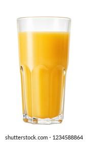 glass of fresh orange juice isolated on whtie background