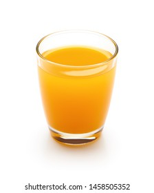 Glass of fresh orange juice isolated on white background - clipping path included