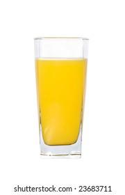 A glass of fresh orange juice, isolated