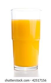 Glass of fresh orange juice. Isolated on white background
