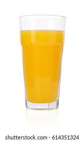 Glass of fresh orange juice isolated on a white background