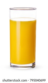 Glass of fresh orange juice isolated on white background. Clipping Path. Full depth of field.