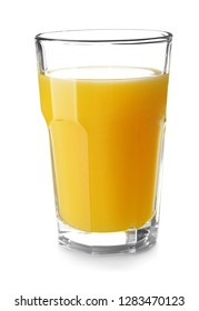 Glass of fresh orange juice on white background
