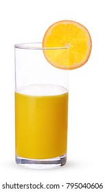 Glass of fresh orange juice with oranges round lobule isolated on white background. Clipping Path. Full depth of field.