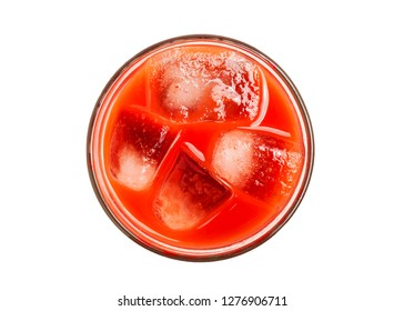 A glass of fresh red juice shot from above and isolated on a white background.