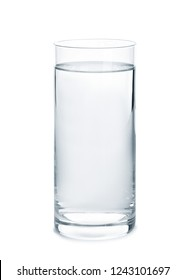 Glass with fresh water on white background
