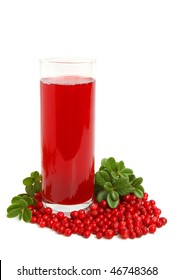 Glass with freshly fruit drink made from cranberries on a white background