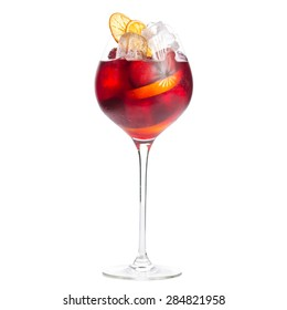 Glass of frozen sangria isolated on white background