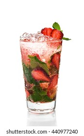 A glass of frozen strawberry Mojito cocktail on white background.