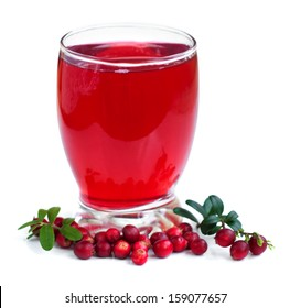 glass of Fruit cranberries drink on a white background