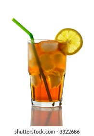 A glass full of Ice Tea with a lemon slice and straw.