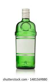 Glass gin bottle isolated on white