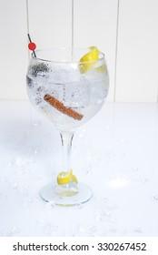 Glass of gin and tonic with ice, cinnamon and lemon