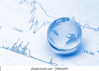 glass global on stock market chart
