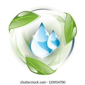 Glass globe with blue drops inside, recycle concept