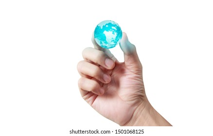 glass globe in hand,Energy saving concept, Elements of this image furnished by NASA