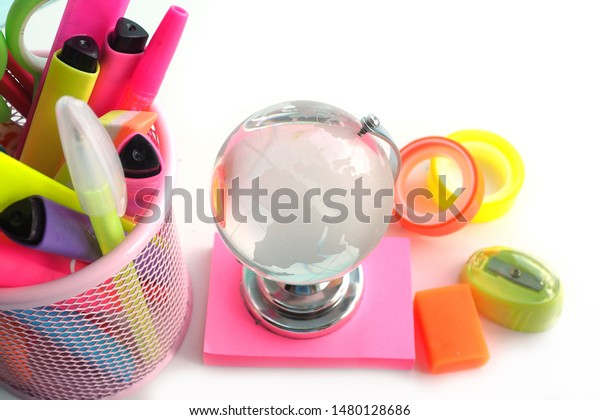 Glass Globe On Pink Stickers Bright Stock Image Download Now