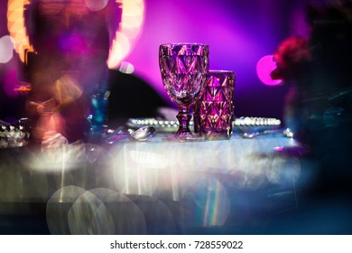 Glass goblets on the table set for wedding table
