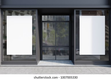 Glass and gray stone cafe facade with two vertical posters and a glass door. A close up. 3d rendering mock up