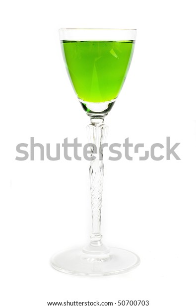 glass of green cocktail
