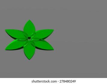 Glass green flower on gray background