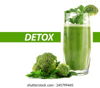 Glass of green vegetable juice with broccoli and parsley isolated on white, Detox concept
