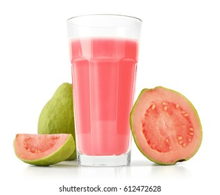 Glass of Guava Smoothie with fresh Guava fruit isolated on white background.