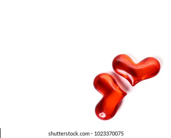 Glass hearts on a white background