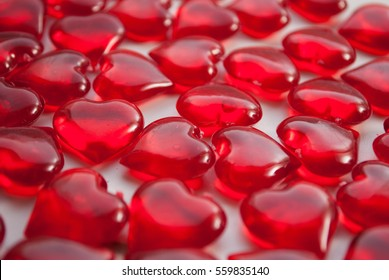 Glass hearts, symbol of love, the Day or the concept of love Valentine's day.