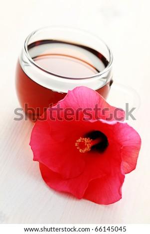 Glass Hibiscus Tea Hibiscus Flower Tea Stock Photo Edit Now