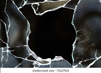 Glass  hole  cracks   splinters