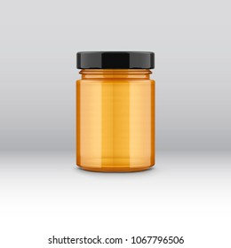 Glass honey jar label design