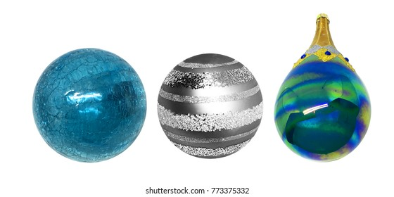 Glass ice balls. Decoration for Christmas tree.Isolated white background.