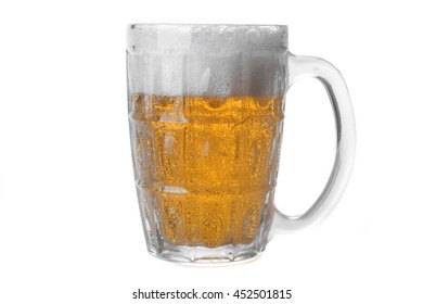 Glass of ice cold beer isolated on white background.