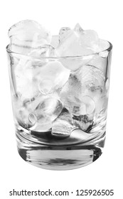 Glass with ice cubes isolated on white background