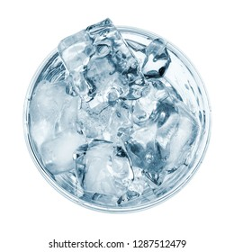 Glass with ice cubes, top view