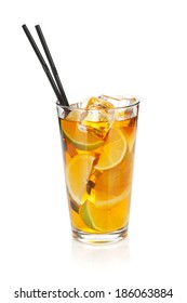 Glass of ice tea with lemon and lime. Isolated on white background