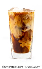 glass of iced coffee with milk isolated on white background