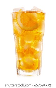 glass of iced tea with lemon isolated on white background