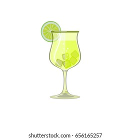 Glass of iced yellow juice, wine or lemonade with sliced lime. Icon, abstract concept. Flat design. Raster illustration on white background.
