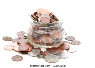 Glass jar with American coins